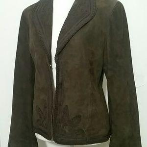Anne Klein M 100% suede leather embroidered Blazer